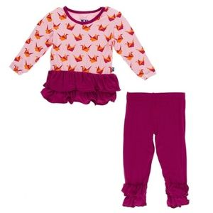 Kickee Pants Set Lotus Origami Crane 6-12M